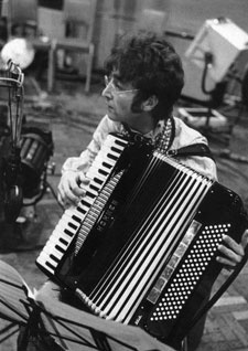 John Lennon playing accordion, circa 1967