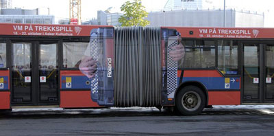 Norwegian accordion bus advertising World Accordion Championships