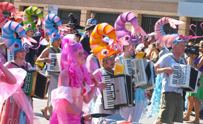Accordion-playing shrimp in the Mermaid Parade
