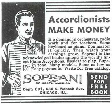 Soprani Ad: Accordionists Make Money