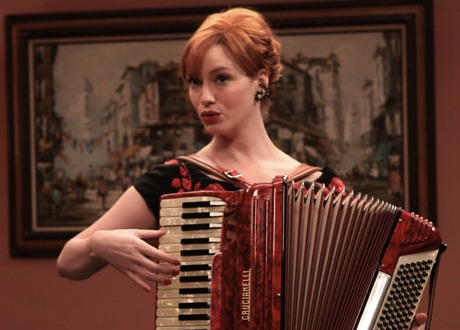Joan plays accordion on Mad Men